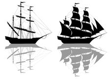 Two black ships Royalty Free Stock Image