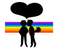 Two black silhouettes of boys in rainbow Royalty Free Stock Photos