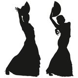 Two black silhouettes of female flamenco dancer Stock Photography