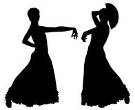 Two black silhouettes of female flamenco dancer Royalty Free Stock Photo