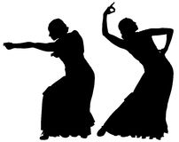 Two black silhouettes of female flamenco dancer Royalty Free Stock Photos