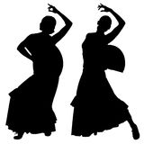 Two black silhouettes of female flamenco dancer Stock Photo