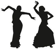 Two black silhouettes of female flamenco dancer Stock Images