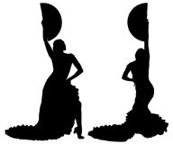 Two black silhouettes of female flamenco dancer Stock Photos
