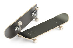 Two black skateboards, 3D rendering Stock Photos