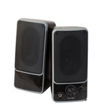 Two black speaker. Isolated over white. Background with shadow stock photos