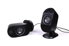 Two black speakers Stock Image