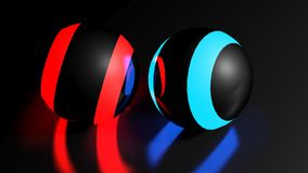 Black spheres with red and blue lighted stripes - 3D rendering. Two black spheres on black reflective surface have red and blue lighted stripes - 3D rendering Royalty Free Stock Photos