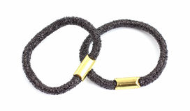 Two Black Stretch Hair Rings Royalty Free Stock Image