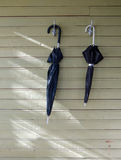 Two black umbrellas. Two old black umbrellas hanged on the clothes hooks on wooden wall Stock Photography