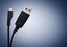 Two Black USB cable Stock Images
