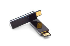 Two black usb flash drives Stock Image
