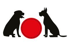 Two black vector silhouettes of sitting dogs near red retro circle. royalty free illustration