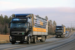 Two Black Volvo Trucks Haul Mobil Delvac Oils Stock Photography