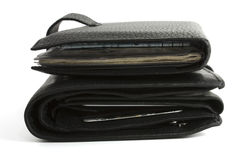Two black wallet isolated Stock Images
