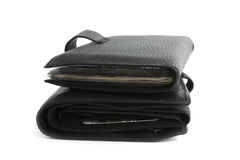 Two black wallet isolated Royalty Free Stock Photo