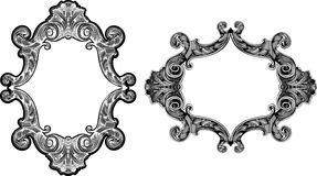 Two Black And White Baroque  Frames Royalty Free Stock Photography