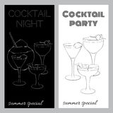 Two black and white brochures for cocktail parties. In a sketch style. Stylish template for your design Royalty Free Stock Image