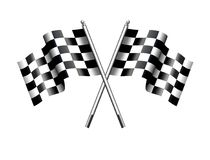 Chequered, Checkered Flags Motor Racing, Sport, Start or Finish. Two black and white crossed racing check, Rippled black and white crossed Checkered, Chequered Royalty Free Stock Photos