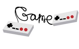 Two black and white old retro hipster joysticks manipulating consoles from the 80`s, 90`s for video game consoles and inscriptio. N game written by wire on a Royalty Free Stock Images