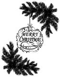 Two black and white realistic fir branches. Placed in the corners. Greeting inscription with the wishes of Christmas. Isolated on white background. Christmas Royalty Free Stock Photos