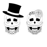 Two black and white skulls  illustration Stock Photos
