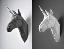 Two black and white unicorn heads on contrast background. royalty free illustration