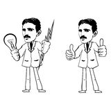 Two black and white vector image of Nikola Tesla. Tesla holds a lightning and a light bulb or shows thumbs up Stock Photo