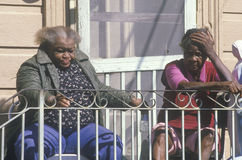 Two black women living in poverty Stock Images