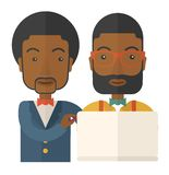 Two black Workers using laptop. A two black workers using laptop. A Contemporary style. Vector flat design illustration isolated white background. Square layout Royalty Free Stock Photo