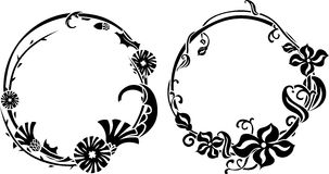 Two black wreath stencil Stock Photography