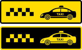 Two black and yellow taxi icons Stock Images