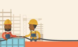 Two black young builders Royalty Free Stock Image