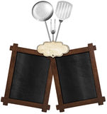 Two Blackboards with Kitchen Utensils Stock Image