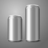 Two blank aluminium beer cans isolated on gray Royalty Free Stock Photos