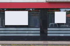 Two blank billboards. In a bank office royalty free stock photos
