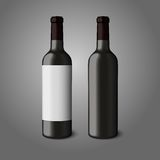 Two blank black realistic bottles for red wine Royalty Free Stock Photo