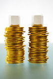 Two blank block over gold coins Stock Photo