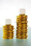 Two blank block over gold coins Royalty Free Stock Image