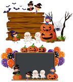 Two Blank Boards With Kids In Halloween Costume Royalty Free Stock Images