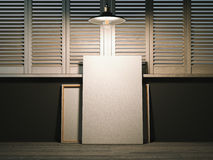 Two blank canvases in artist's workshop. 3d rendering Royalty Free Stock Photos