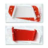 Two, blank, Christmas Time, winter gift vouchers. Stock Photo