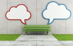 Two blank cloud billboard in a street. Two blank street billboard  with the form of a cloud on concrete wall with bench - 3D Rendering Royalty Free Stock Photos