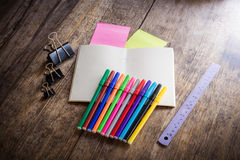 Two blank colorful sticky notes , notebook ,pencil ,highlighter, Royalty Free Stock Images