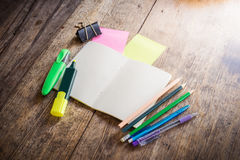 Two blank colorful sticky notes , notebook ,pencil ,highlighter Royalty Free Stock Images
