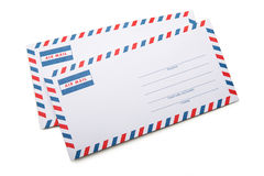 Two blank envelopes  with soft shadows, on white background back Stock Photography