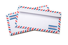 Two blank envelopes  with soft shadows, on white background back Royalty Free Stock Photography