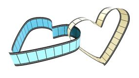 Two Blank Filmes Heart. Two blank films heart over white background Royalty Free Stock Images