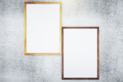Two blank frames on concrete background Royalty Free Stock Image