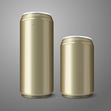 Two blank golden beer cans isolated on gray Stock Images